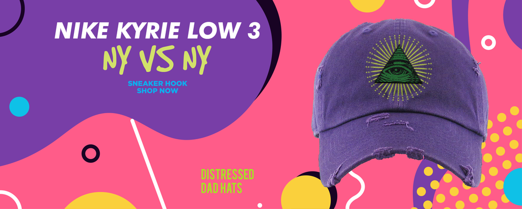 Kyrie Low 3 NY vs NY Distressed Dad Hats to match Sneakers | Hats to match Nike Kyrie Low 3 NY vs NY Shoes