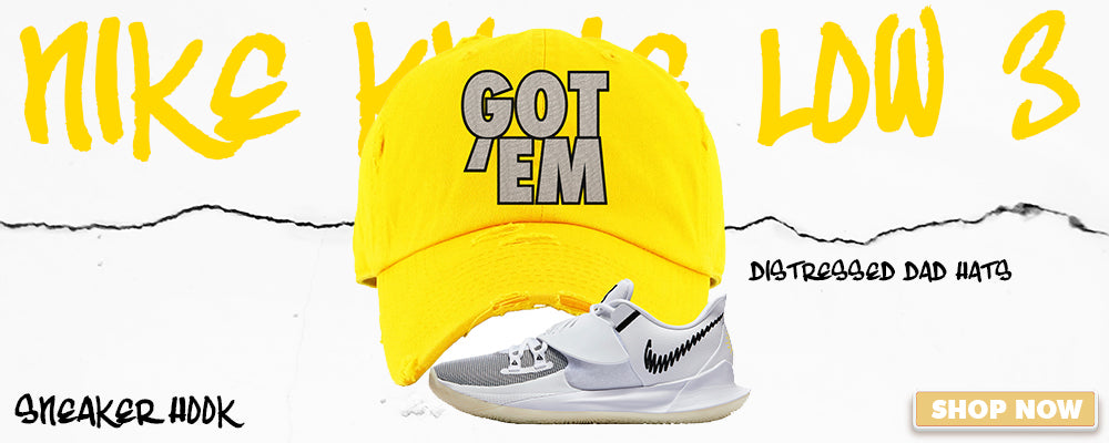 Kyrie Low 3 Distressed Dad Hats to match Sneakers | Hats to match Nike Kyrie Low 3 Shoes