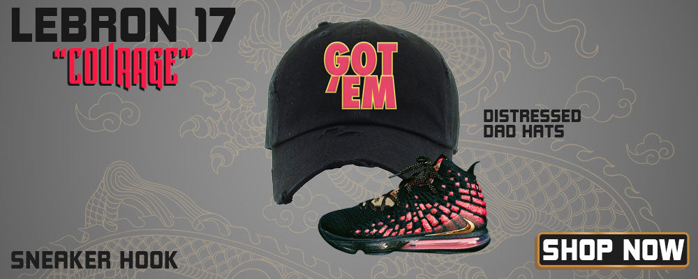 LeBron 17 'Courage' Distressed Dad Hats to match Sneakers   Hats to match Nike LeBron 17 'Courage' Shoes