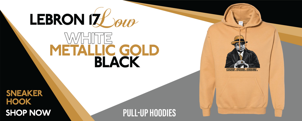 Lebron 17 Low White/Metallic Gold/Black Pullover Hoodies to match Sneakers | Hoodies to match Nike Lebron 17 Low White/Metallic Gold/Black Shoes