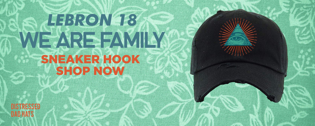 Lebron 18 We Are Family Distressed Dad Hats to match Sneakers | Hats to match Nike Lebron 18 We Are Family Shoes