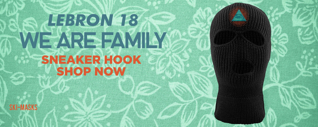 Lebron 18 We Are Family Ski Masks to match Sneakers | Winter Masks to match Nike Lebron 18 We Are Family Shoes