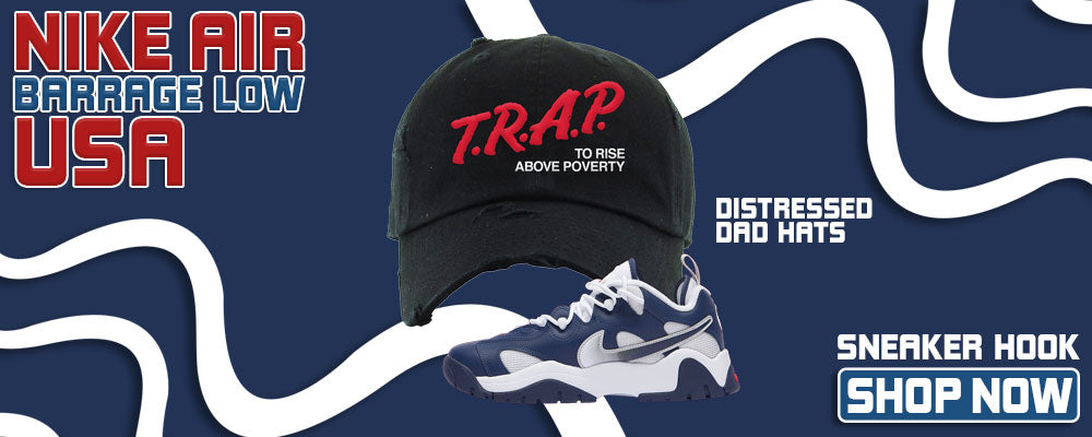 Air Barrage Low USA Distressed Dad Hats to match Sneakers | Hats to match Nike Air Barrage Low USA Shoes