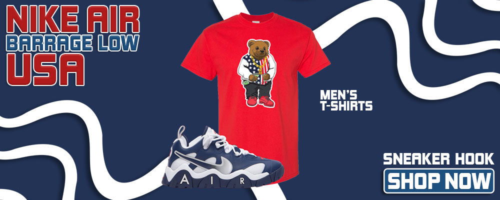 Air Barrage Low USA T Shirts to match Sneakers | Tees to match Nike Air Barrage Low USA Shoes