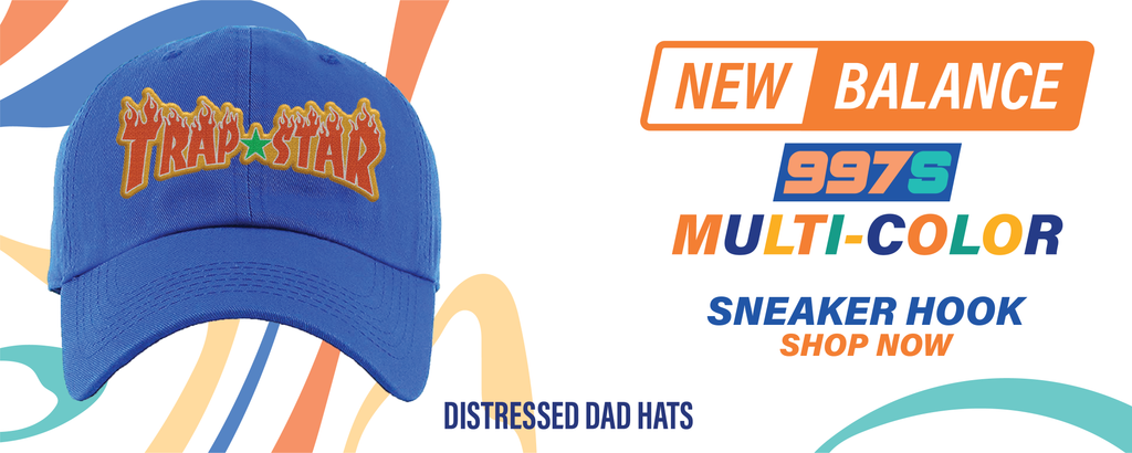 New Balance 997S Multicolor Distressed Dad Hats to match Sneakers | Hats to match New Balance 997S Multicolor Shoes