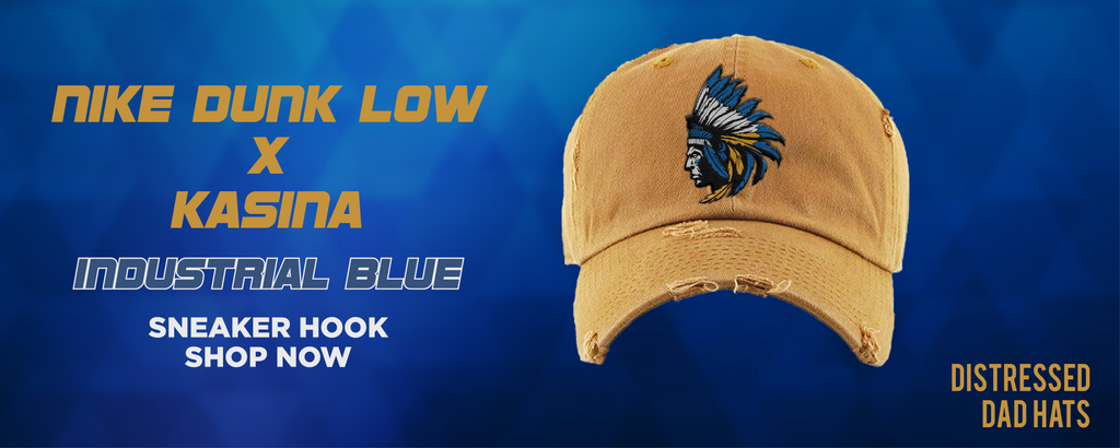 Dunk Low Industrial Blue x Kasina Distressed Dad Hats to match Sneakers | Hats to match Nike Dunk Low Industrial Blue x Kasina Shoes