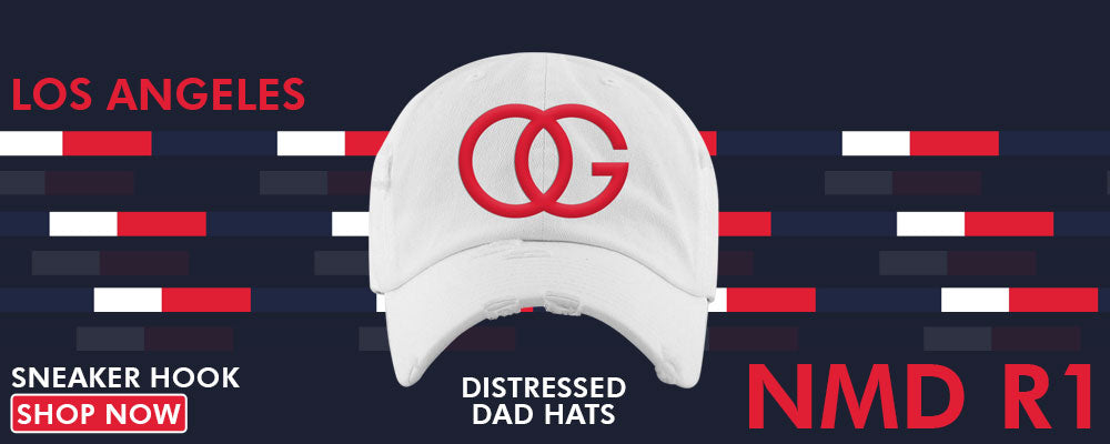 NMD R1 Los Angeles Distressed Dad Hats to match Sneakers | Hats to match Adidas NMD R1 Los Angeles Shoes