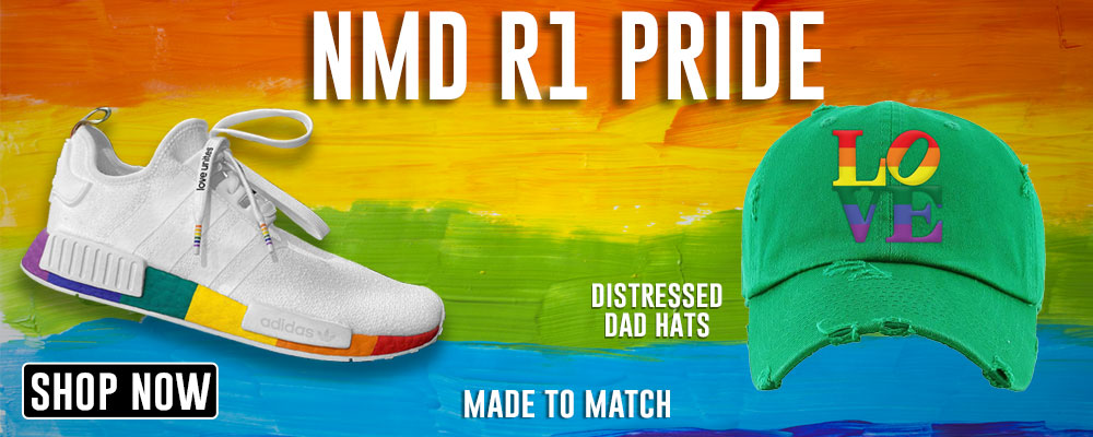 NMD R1 Pride Distressed Dad Hats to match Sneakers | Hats to match Adidas NMD R1 Pride Shoes