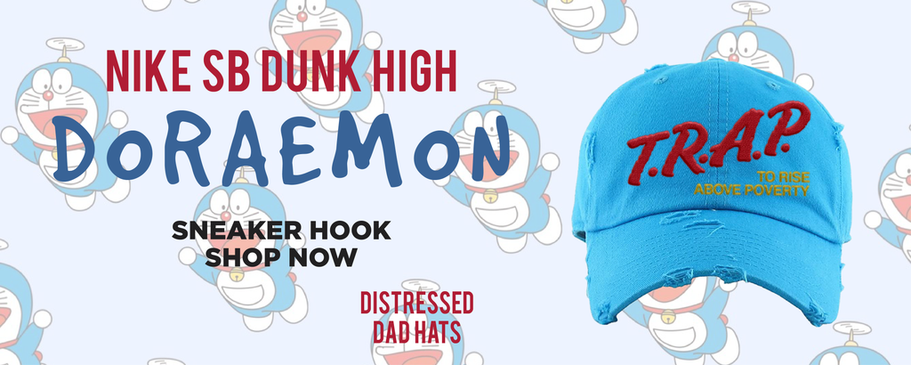SB Dunk High Doraemon Distressed Dad Hats to match Sneakers | Hats to match Nike SB Dunk High Doraemon Shoes