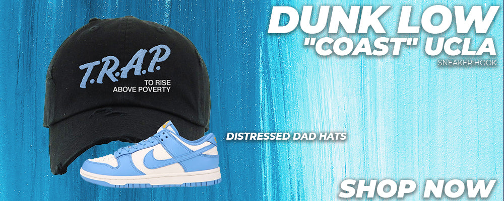 Dunk Low 'Coast' UCLA Distressed Dad Hats to match Sneakers | Hats to match Nike Dunk Low 'Coast' UCLA Shoes