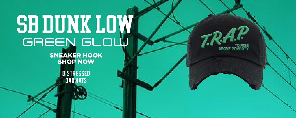 SB Dunk Low Green Glow Distressed Dad Hats to match Sneakers | Hats to match Nike SB Dunk Low Green Glow Shoes