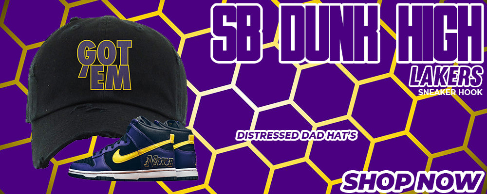 SB Dunk High Lakers Distressed Dad Hats to match Sneakers | Hats to match Nike SB Dunk High Lakers Shoes
