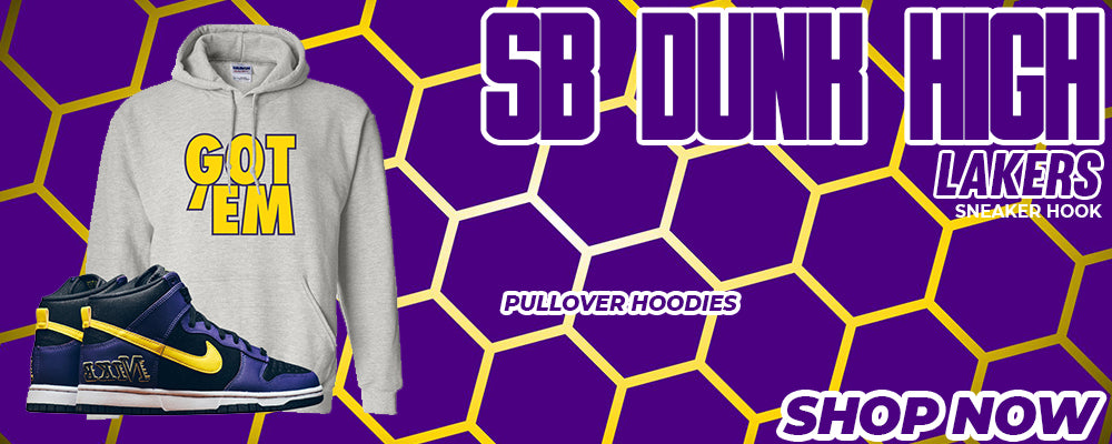 SB Dunk High Lakers Pullover Hoodies to match Sneakers | Hoodies to match Nike SB Dunk High Lakers Shoes