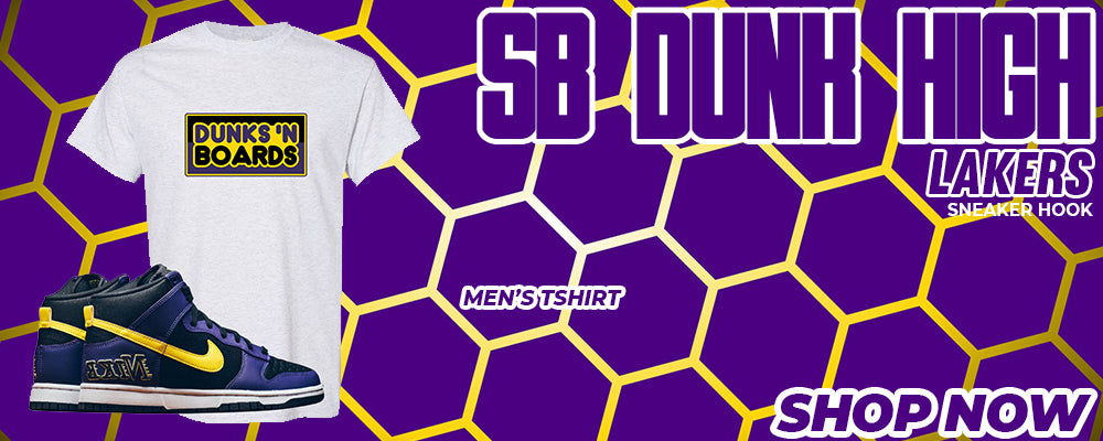 SB Dunk High Lakers T Shirts to match Sneakers | Tees to match Nike SB Dunk High Lakers Shoes