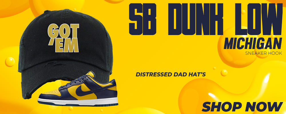 SB Dunk Low Michigan Distressed Dad Hats to match Sneakers | Hats to match Nike SB Dunk Low Michigan Shoes