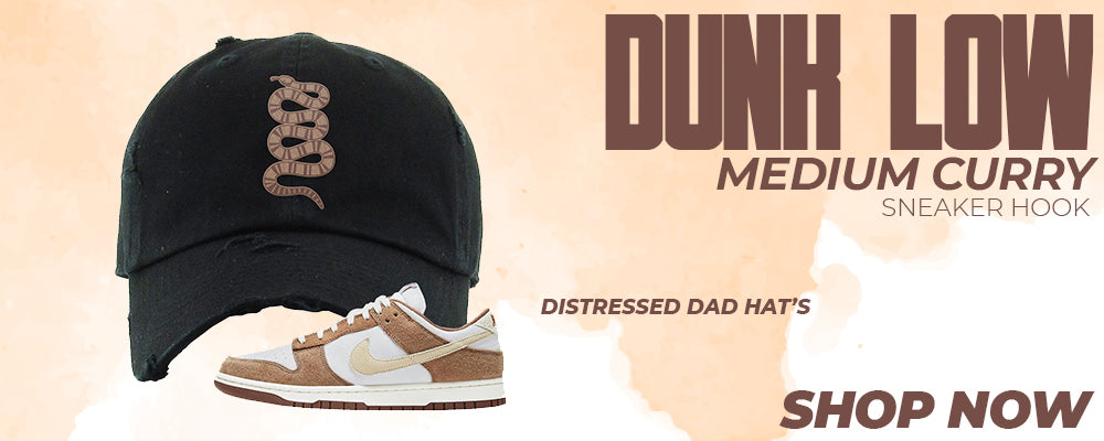 Dunk Low Medium Curry Distressed Dad Hats to match Sneakers | Hats to match Nike Dunk Low Medium Curry Shoes