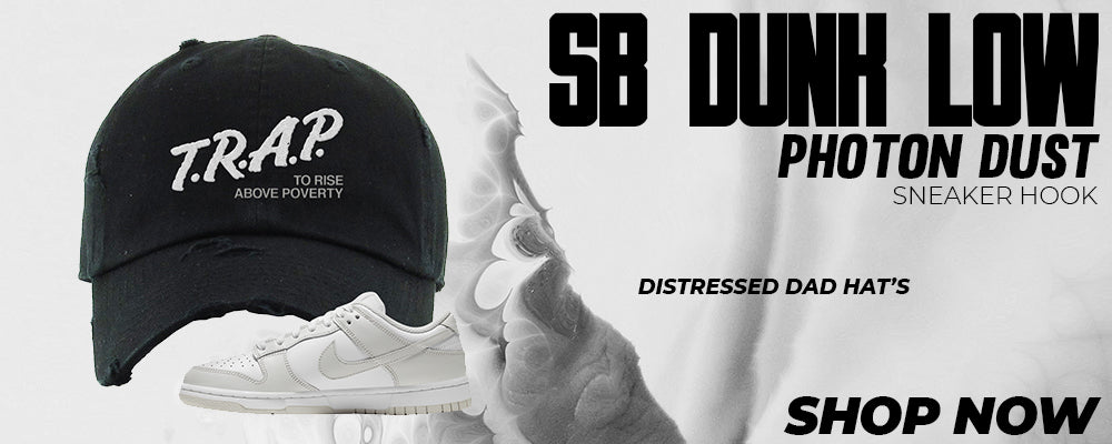 SB Dunk Low Photon Dust Distressed Dad Hats to match Sneakers | Hats to match Nike SB Dunk Low Photon Dust Shoes