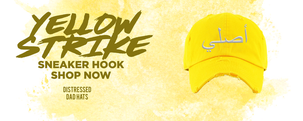 Yellow Strike Low Dunks Distressed Dad Hats to match Sneakers   Hats to match Yellow Strike Low Dunks Shoes