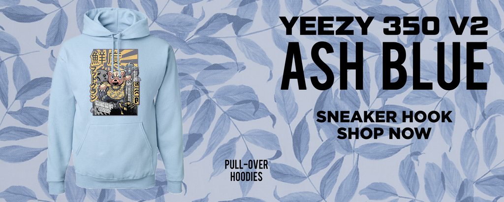 Yeezy 350 v2 Ash Blue Pullover Hoodies to match Sneakers | Hoodies to match Adidas Yeezy 350 v2 Ash Blue Shoes