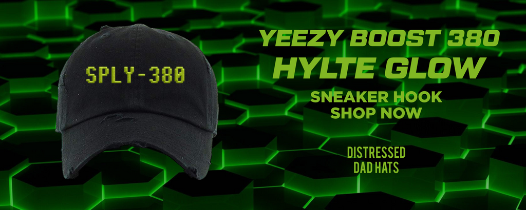 Yeezy Boost 380 Hylte Glow Distressed Dad Hats to match Sneakers | Hats to match Adidas Yeezy Boost 380 Hylte Glow Shoes
