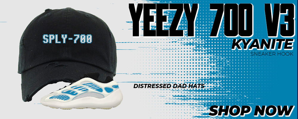 Yeezy 700 V3 Kyanite Distressed Dad Hats to match Sneakers | Hats to match Adidas Yeezy 700 V3 Kyanite Shoes