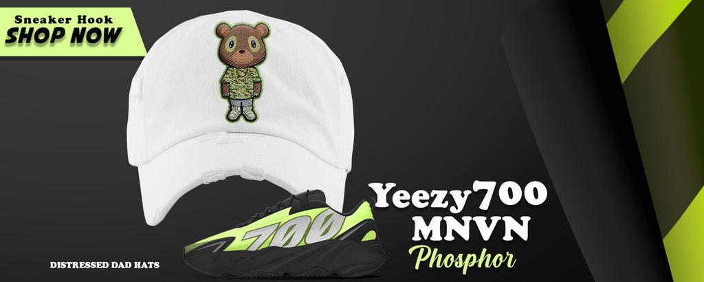 Yeezy 700 MNVN Phosphor Distressed Dad Hats to match Sneakers | Hats to match Adidas Yeezy 700 MNVN Phosphor Shoes