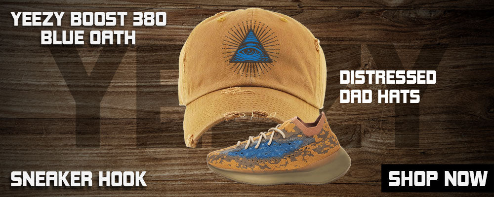Yeezy Boost 380 'Blue Oat' Distressed Dad Hats to match Sneakers | Hats to match Adidas Yeezy Boost 380 'Blue Oat' Shoes