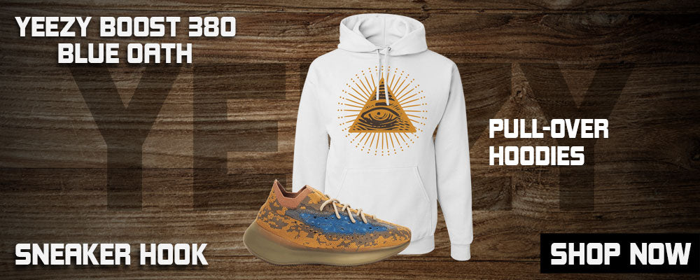 Yeezy Boost 380 'Blue Oat' Pullover Hoodies to match Sneakers | Hoodies to match Adidas Yeezy Boost 380 'Blue Oat' Shoes