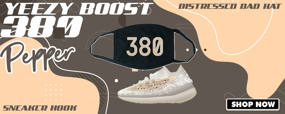 Yeezy Boost 380 'Pepper' Face Mask to match Sneakers | Masks to match Adidas Yeezy Boost 380 'Pepper' Shoes