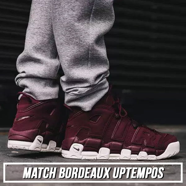 Shop the sneaker matching dad hats to match the Nike Air More Uptempo Bordeaux Night Maroon sneakers