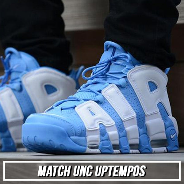 Shop a custom sneaker matching dad hat to match the UNC Carolina Blue Scottie Pippen More Uptempo sneakers