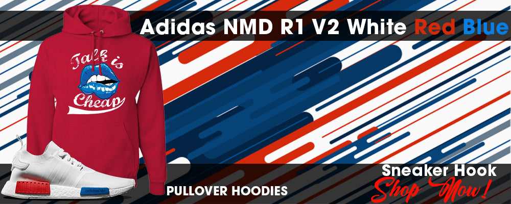 NMD R1 V2 White Red Blue Pullover Hoodies to match Sneakers | Hoodies to match Adidas NMD R1 V2 White Red Blue Shoes