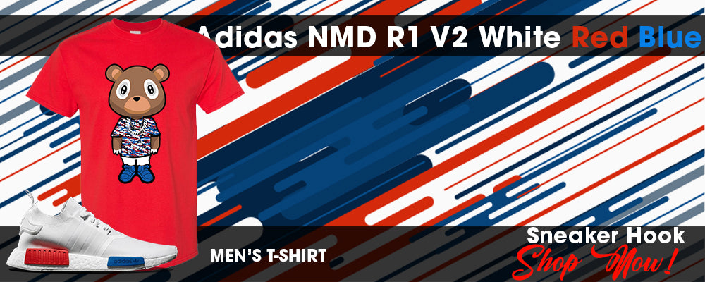 NMD R1 V2 White Red Blue T Shirts to match Sneakers | Tees to match Adidas NMD R1 V2 White Red Blue Shoes