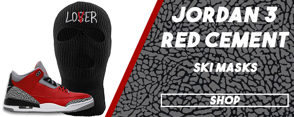 Jordan 3 All Star Red Cement Ski Masks to match Sneakers | Winter Masks to match Chicago Exclusive Jordan 3 Red Cement Shoes
