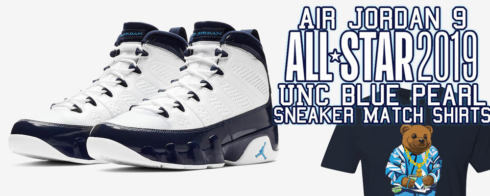 Rock a sneaker matching t-shirt to match your pair of Air Jordan 9 All Star UNC Blue Pearl sneakers