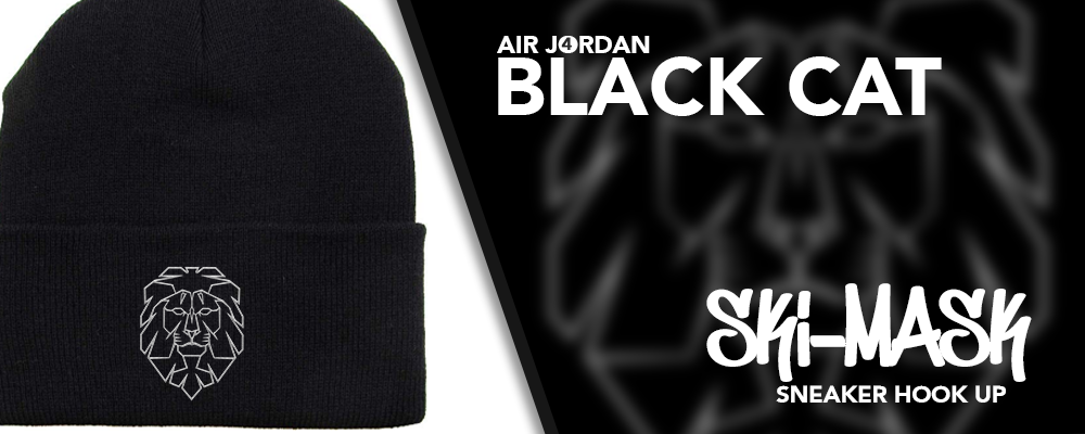 Beanies Made to Match Air Jordan 4 Black Cat Sneakers