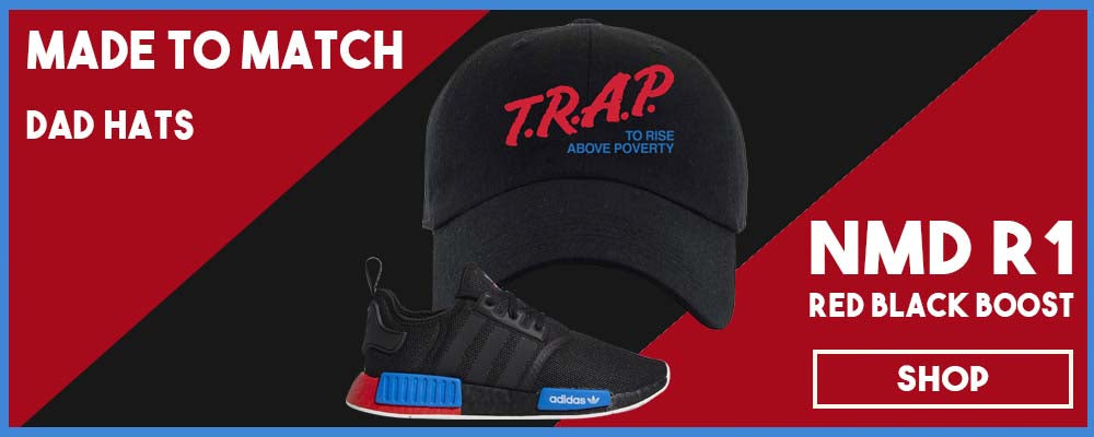 NMD R1 Black Red Boost Matching Dad Hats | Sneaker dad hats to match NMD R1s