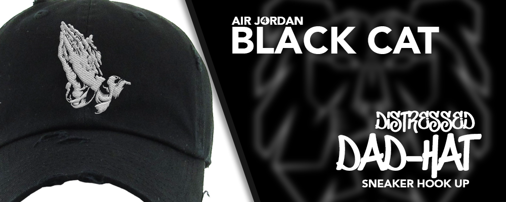 Distressed Dad Hats Made to Match Air Jordan 4 Black Cat Sneakers