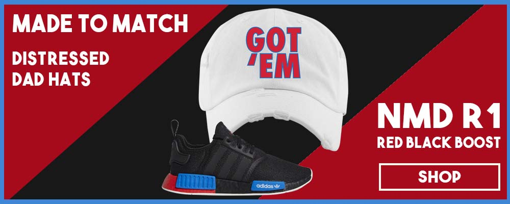 NMD R1 Black Red Boost Matching Distressed Dad Hats | Sneaker distressed dad hats to match NMD R1s