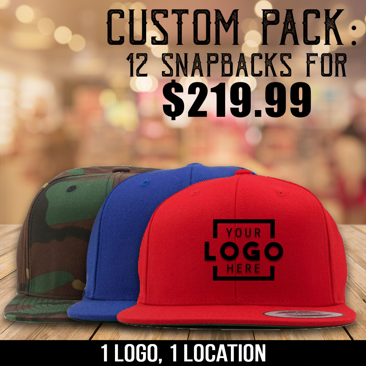 Get 12 snapback hats with one logo embroidered on each for $219.99