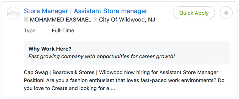 apply for a store manager position at cap swag