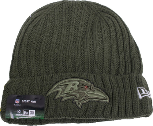 the baltimore ravens salute to service beanie is solid green