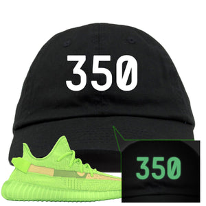 "Yeezy Boost 350 V2 Glow Sneaker Hook Up ""350"" Glow In The Dark Thread Black Dad Hat"