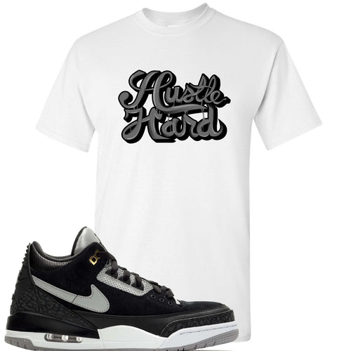 Air Jordan 3 Tinker Black Cement Sneaker Match Hustle Hard White T-Shirt