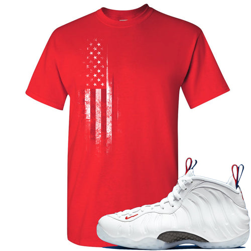 Nike WMNS Air Foamposite One USA Sneaker Match Distressed American Flag Red T-Shirt