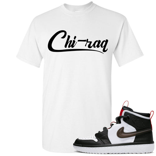 Air Jordan 1 High React White Black Sneaker Match Chi-raq White T-Shirt