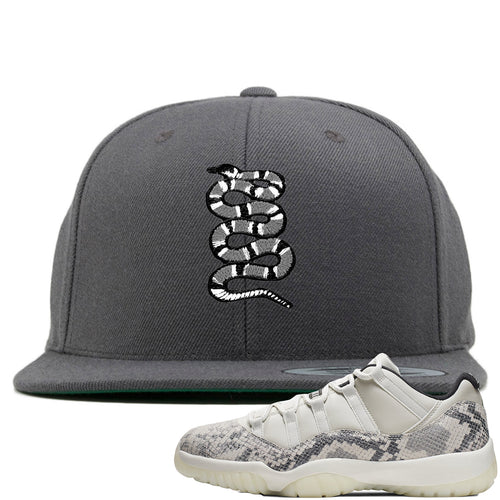 Air Jordan 11 Low Snakeskin Light Bone Sneaker Match Coiled Snake Gray Snapback