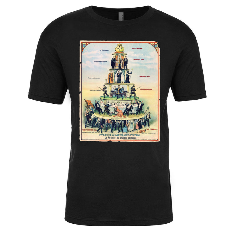The class pyramid , pyramid of capitalism poster black t-shirt is solid black ring spun cotton and features a poster of the pyramid of capitalism printed on the front