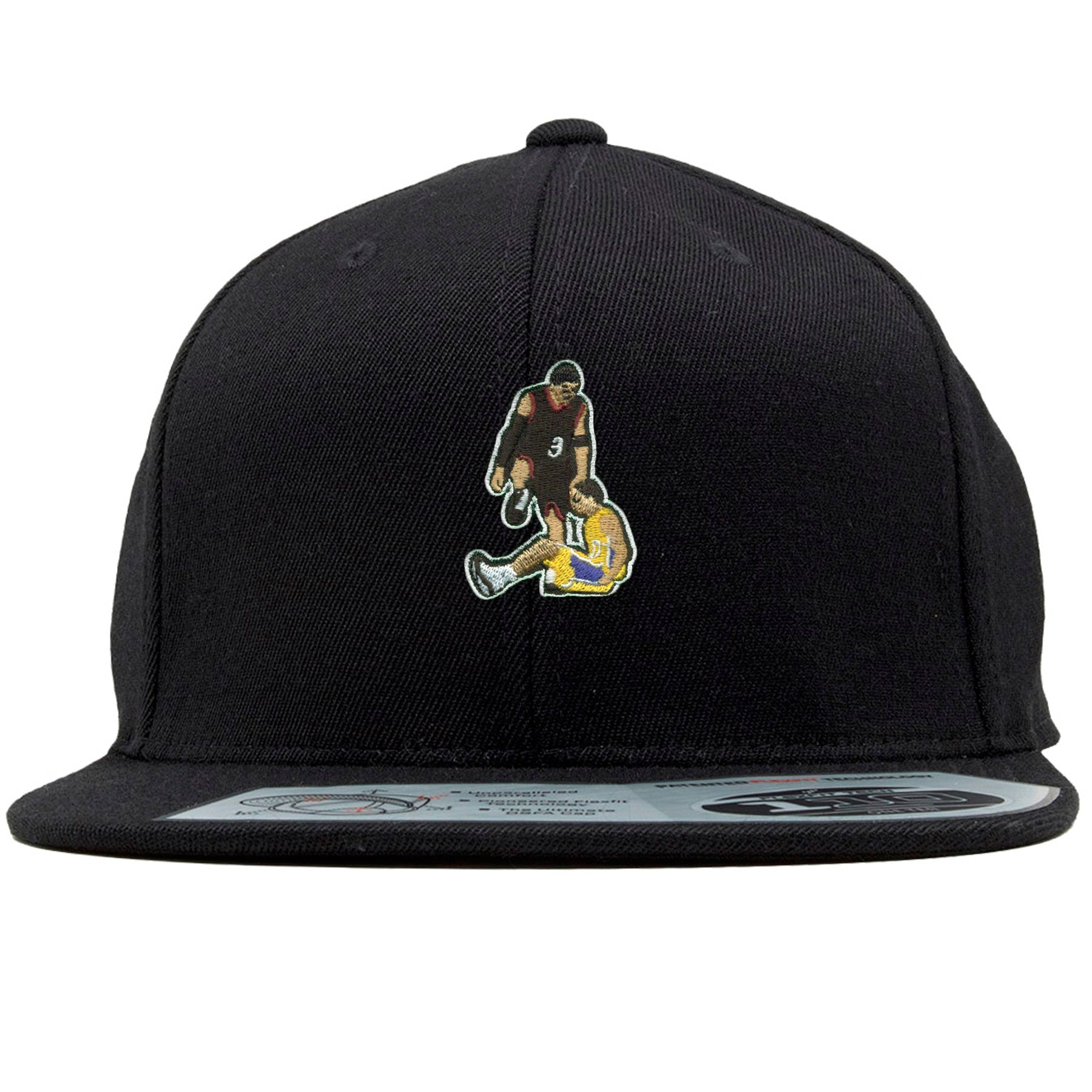 9ef8d29c366db on the front of the black allen iverson step over snapback hat there is an  image