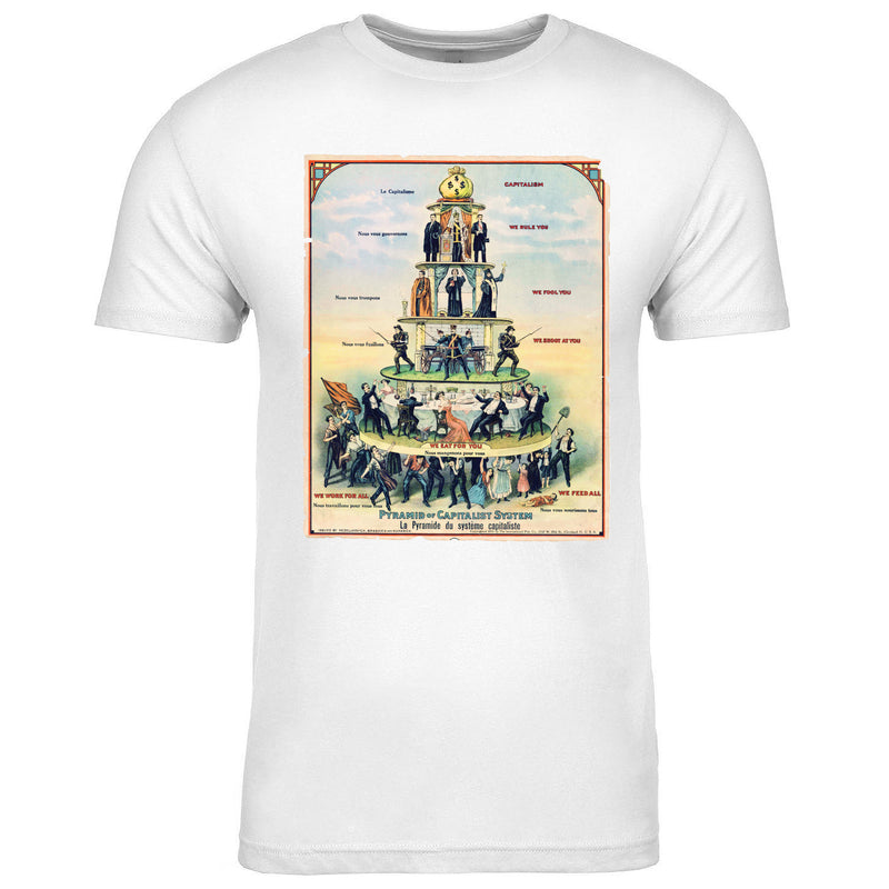 The Capitalism Pyramid Class Pyramid t-shirt is white and contains a detailed print of the Capitalist Pyramid Poster on the front